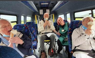 Bus trip to Ice Cream Parlour.